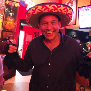 Ralph Pagano wearing a sombrero at the world famous Naked Taco in South Beach